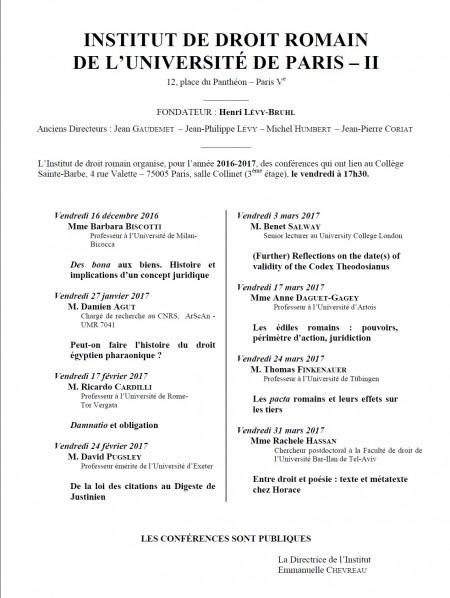 Conférences de l'Institut de droit romain