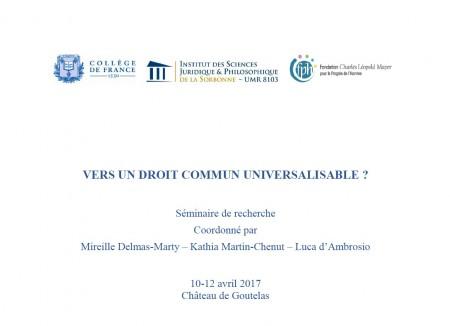 Vers Un Droit Commun Universalisable Portail Universitaire Du Droit