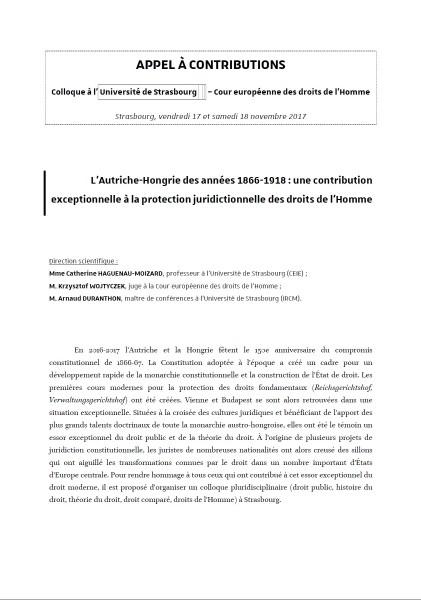 L'Autriche-Hongrie des années 1866-1918 et la protection juridictionnelle des droits de l'Homme