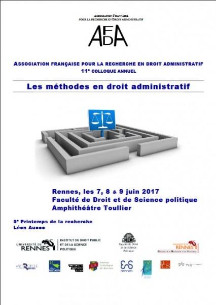 11e Colloque annuel de l'AFDA : Les méthodes en droit administratif