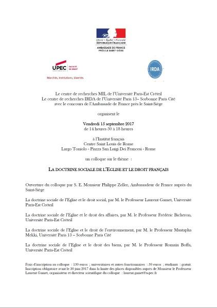 La doctrine sociale de l'Eglise et le droit français