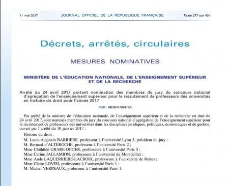 Concours d'agrégation d'histoire du droit : nomination des membres du jury