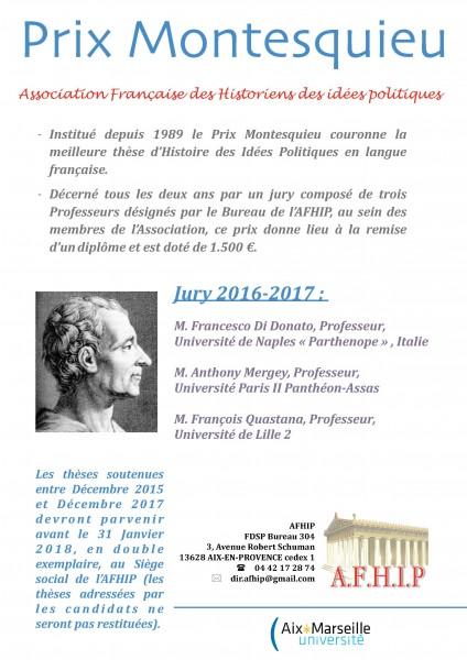 Prix Montesquieu - Association Française des Historiens des idées politiques