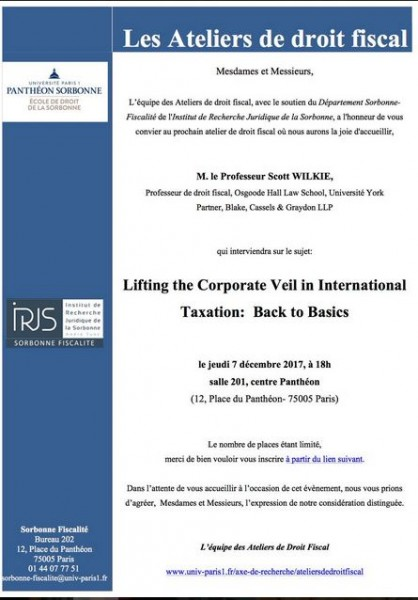 Lifting the Corporate Veil in International Taxation : Back to Basics