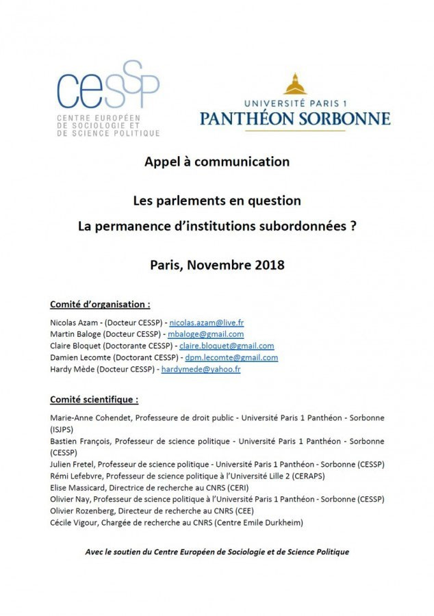 Les parlements en question. La permanence d'institutions subordonnées ?