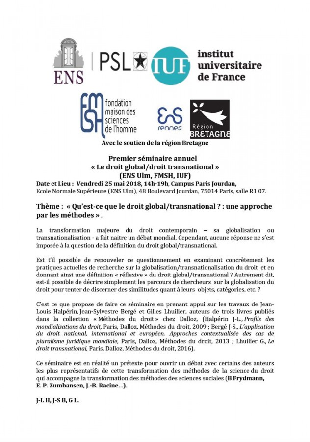 Le droit global/droit transnational