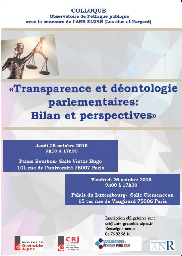 fce0cdb871f Transparence et déontologie parlementaires   Bilan et perspectives