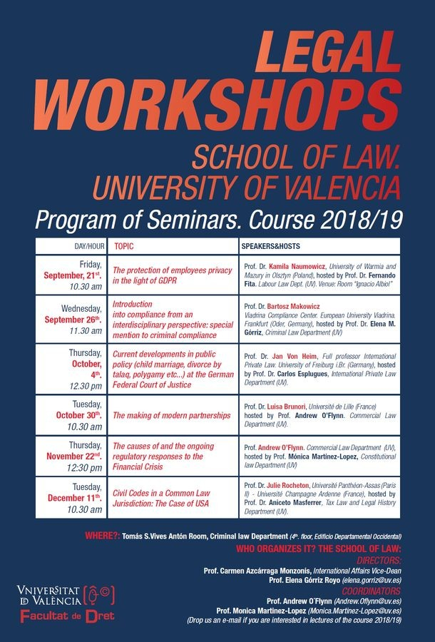 Legal workshops. School of law - University of Valencia