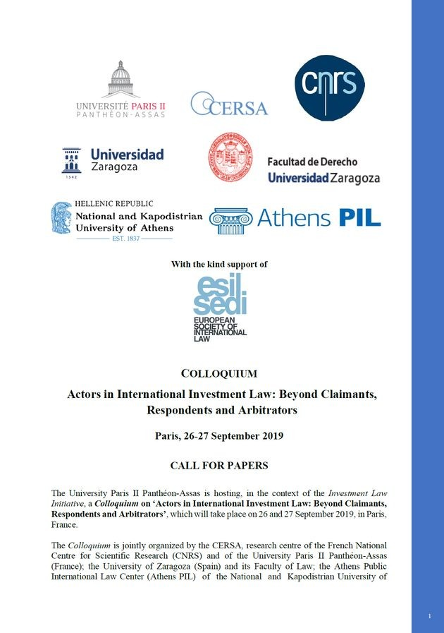Actors in International Investment Law: Beyond Claimants, Respondents and Arbitrators