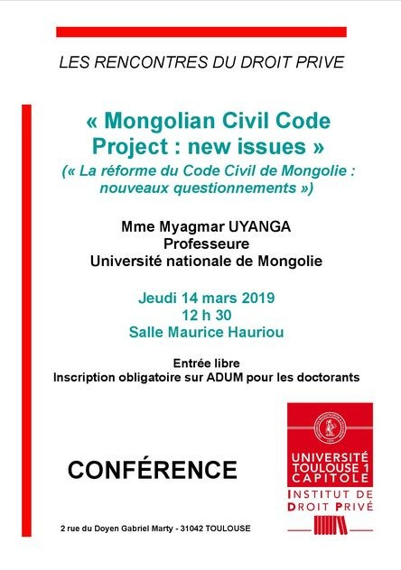 Mongolian civil code project : new issues