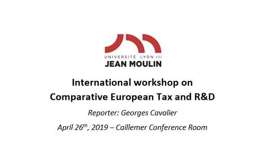 International workshop on Comparative European Tax and R&D