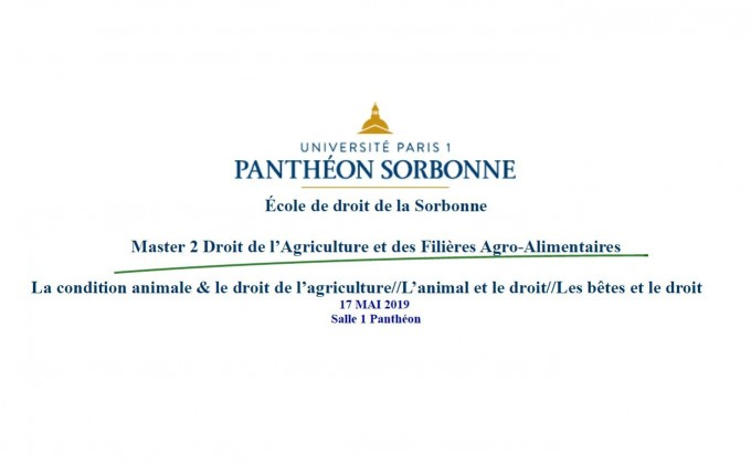 La condition animale & le droit de l'agriculture