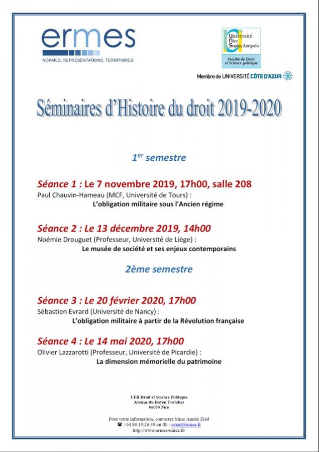 Séminaire d'histoire du droit 2019-2020