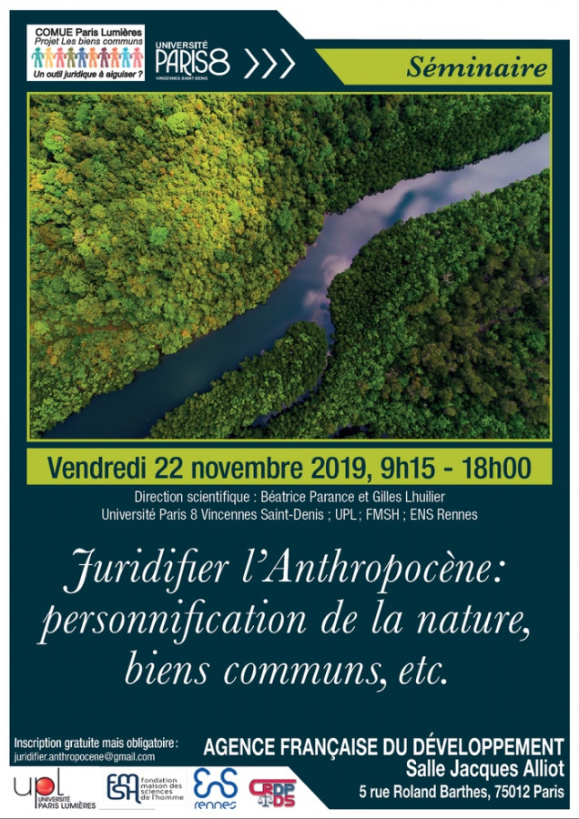 Juridifier l'Anthropocène : personnification de la nature, biens communs, etc.