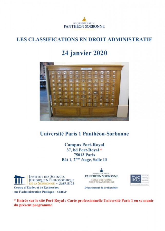 Les classifications en droit administratif