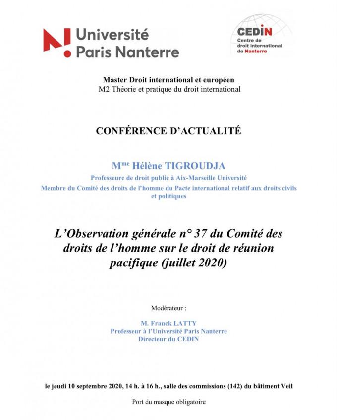 L'Observation générale n° 37 du Comité des droits de l'homme sur le droit de réunion pacifique