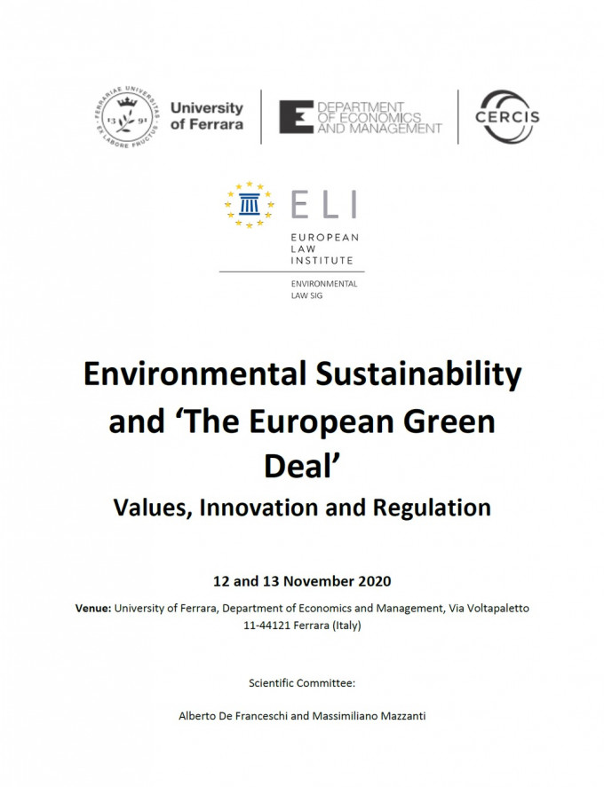 "Environmental sustainability and ""the European green deal"" : values, innovation and regulation"